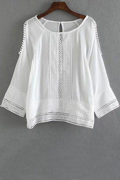 Cutout White Lace Chiffon Top