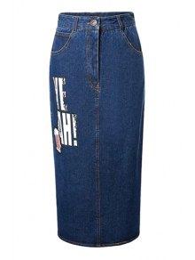 Letter Sequined Back Slit High Waist Denim Skirt - Deep Blue M