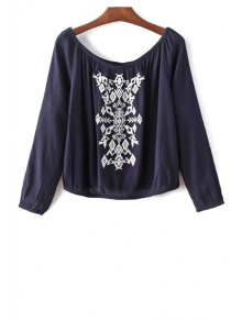 Off The Shoulder Retro Embroidery Long Sleeve Blouse