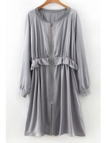 Flounced Zip-Up Long Sleeve Trench Coat