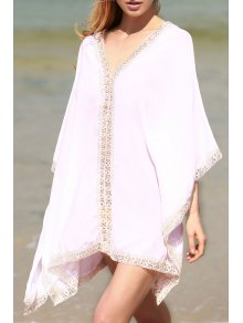 Solid Color Lace Border V Neck Bat-Wing Sleeve Dress - White