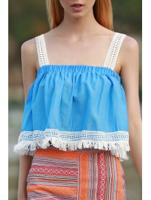 Tassels Blue Sleeveless Crop Top