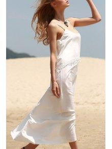 White Tassels Cami Maxi Dress - White