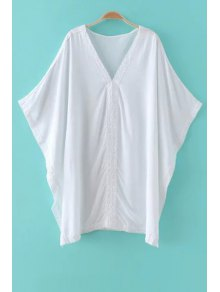 Solid Color Lace Splicing Plunging Neck Bat-Wing Sleeve Cover Up - White