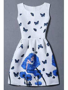 Butterfly And Rose Print Sleeveless Dress - White