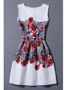 Red Rose Print Sundress - White M