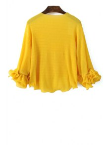 Solid Color Round Neck Puff Sleeve Blous