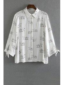 Swan Print Button Down Shirt - White M