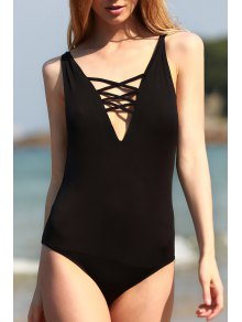 Black Cut Out Plunging Neck One-Piece Swimwear - Black