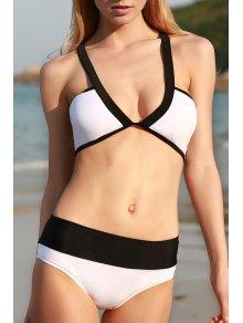 Color Block Cross Halter Bikini Set