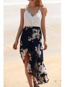Backless Spaghetti Straps Lace Spliced Dress