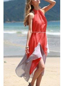 Mock Neck Sleeveless Color Block Maxi Dress - Orangepink