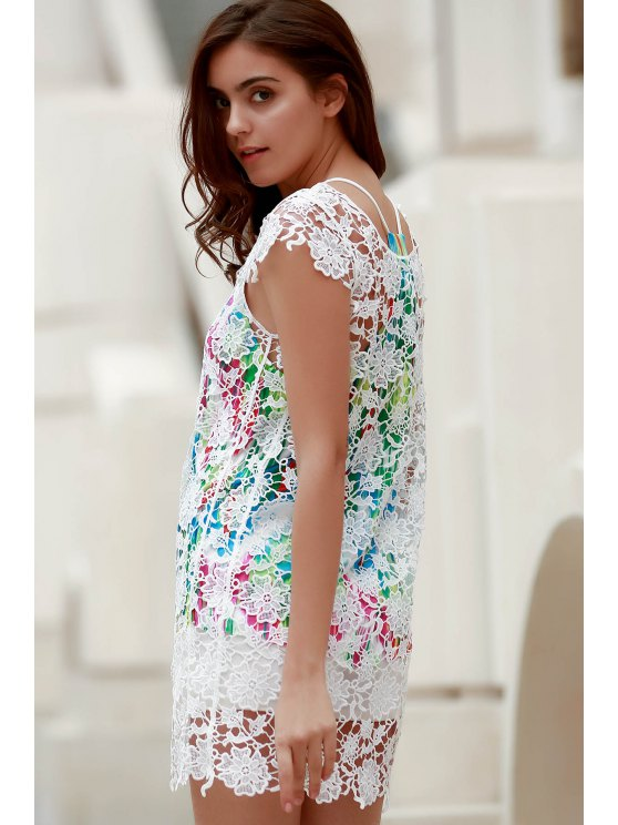 Backless Round Collar Solid Color Lace Cover Up - WHITE M Mobile
