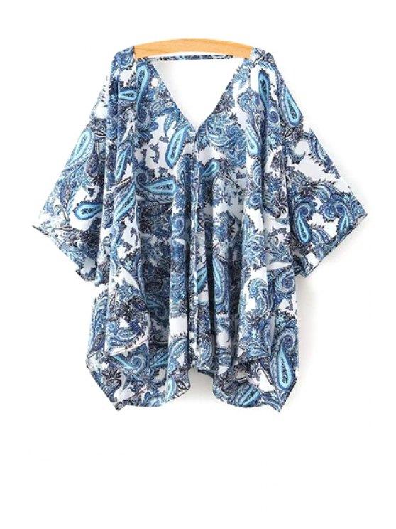 Paisley Print media manga de la blusa kimono - Azul M