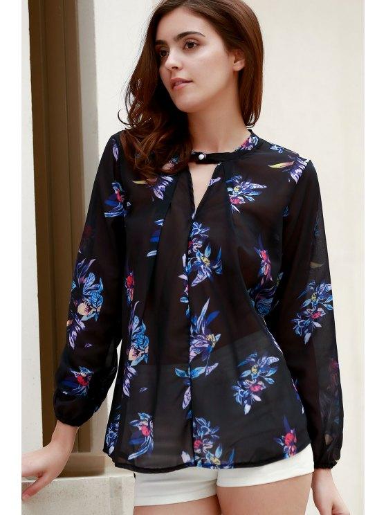 V-Neck Colorful Floral Print Long Sleeve Shirt - BLACK M Mobile