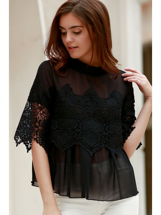 Lace Chiffon Splicing Round Neck 3/4 Sleeve Blouse - BLACK 2XL Mobile