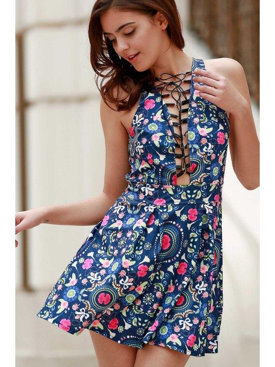 Flower Print Plunging Neck Sleeveless Dress - BLUE XL Mobile