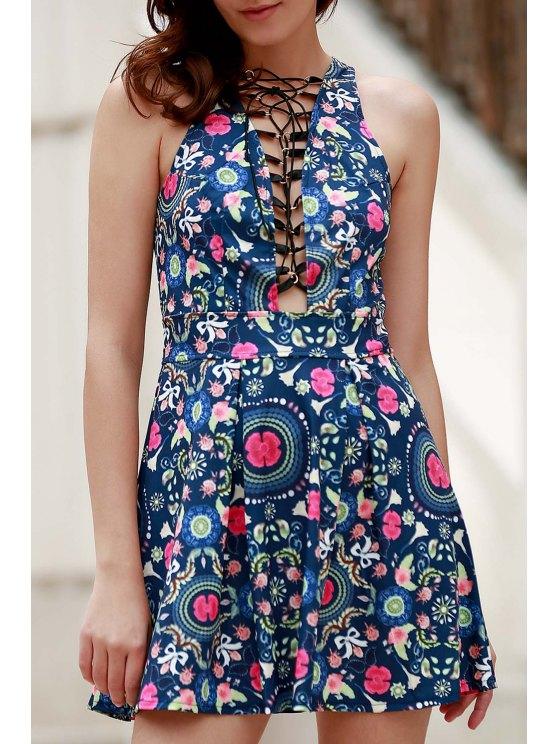 Flower Print Plunging Neck Sleeveless Dress - BLUE M Mobile