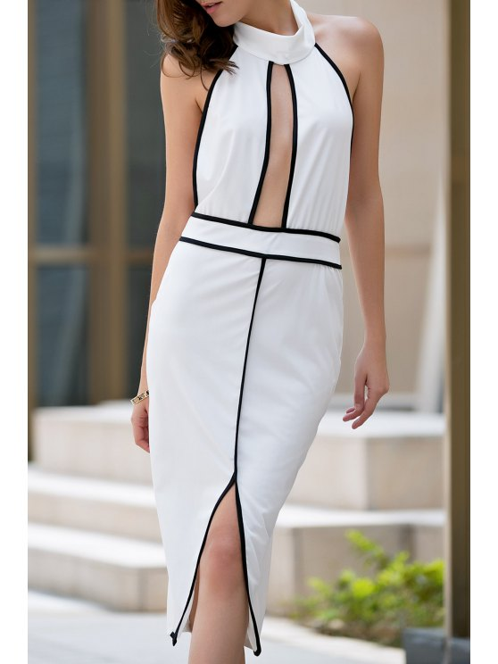 sale Backless Stand Collar Cut Out Dress - WHITE M