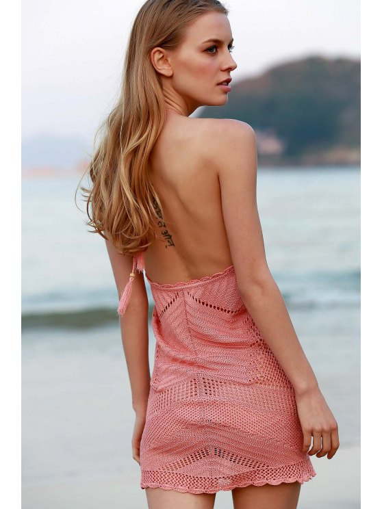 Pink Crochet Halter Cover Up - PINK ONE SIZE(FIT SIZE XS TO M) Mobile