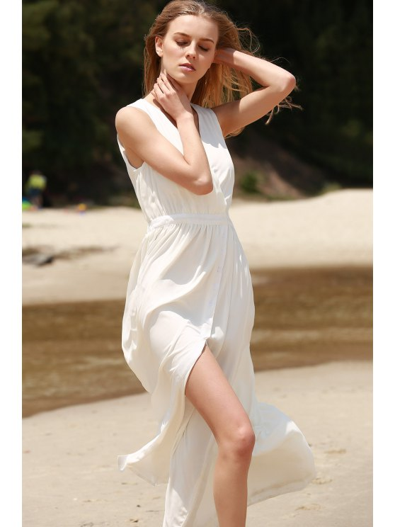 White High Slit Plunging Neck Sleeveless Chiffon Dress - WHITE S Mobile
