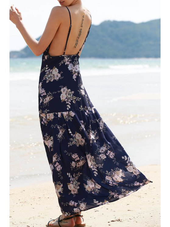 women's Floral Print Backless Long Dress - PURPLISH BLUE M