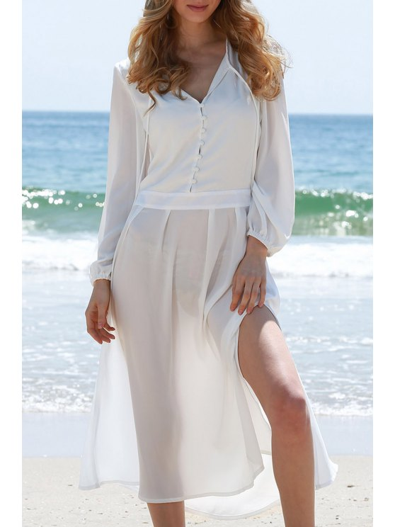 fashion High Slit Plunging Neck Lantern Sleeve Dress - WHITE M