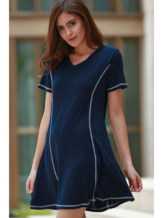 Loose Black V Neck Short Sleeve Dress - PURPLISH BLUE L Mobile