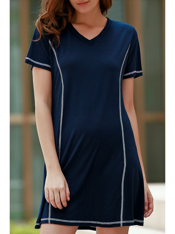 lady Loose Black V Neck Short Sleeve Dress - PURPLISH BLUE L