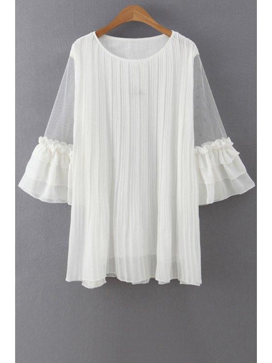Volantes gasa empalmado 3/4 de vestir de manga - Blanco Un tamaño(Montar tam
