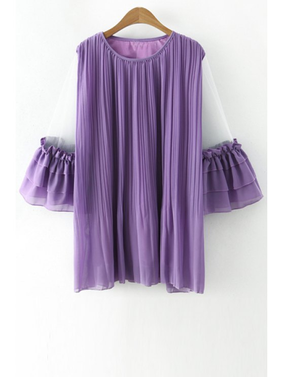 unique Ruffles Voile Spliced 3/4 Sleeve Dress - PURPLE ONE SIZE(FIT SIZE XS TO M)