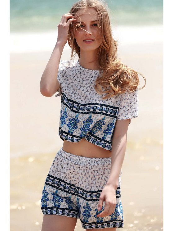 Cropped Short Sleeve Printed T-Shirt and Shorts Twinset - WHITE S Mobile