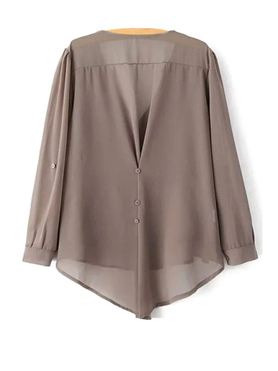 High Low Hem Long Sleeve Solid Color Peasant Blouse - COFFEE XL Mobile