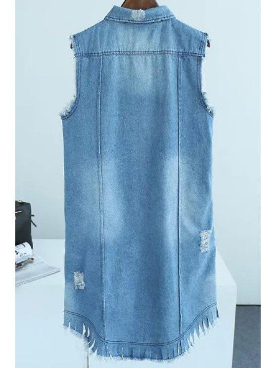 Letter Print Frayed Long Waistcoat - BLUE L Mobile