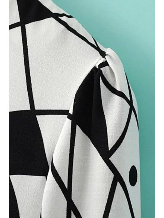 Abstract Print A-Line Dress - WHITE M Mobile