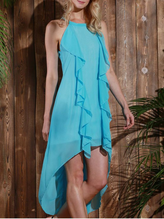 hot High Low Sleeveless Chiffon Dress - LIGHT BLUE M