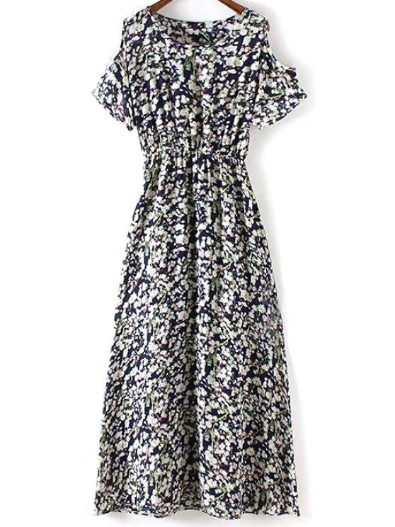 Tiny Flower Print Round Collar Cold Shoulder Dress - PURPLISH BLUE S Mobile