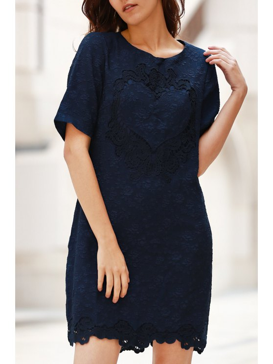 outfits Solid Color Lace Splicing Round Neck Short Sleeve Dress - PURPLISH BLUE XL