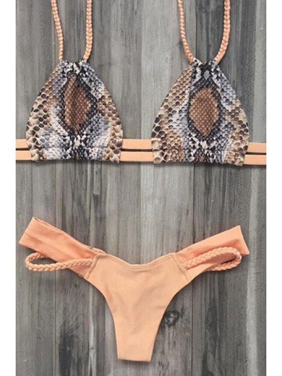 Printed Braided Spaghetti Straps Bikini Set - EARTHY L Mobile