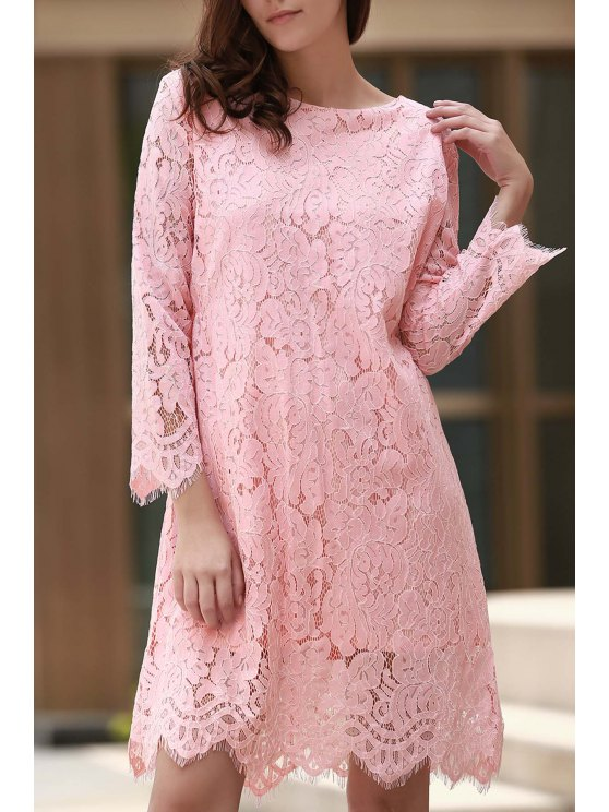 ladies Lace Round Collar Long Sleeve Solid Color Dress - PINK L