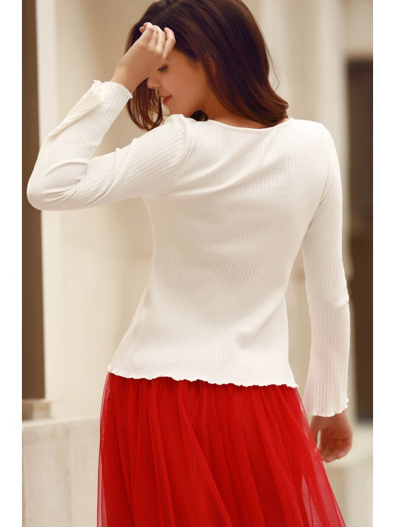 Solid Color Round Neck Flare Sleeve T-Shirt - WHITE S Mobile