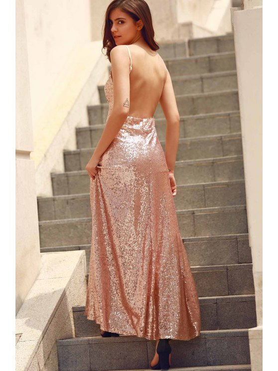 Backless Sequins Spaghetti Strap Maxi Dress - PINK L Mobile