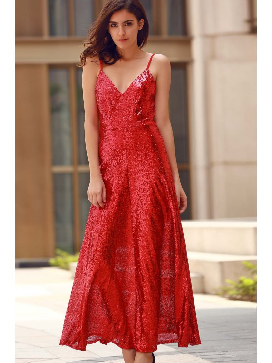 Backless Sequins Spaghetti Strap Maxi Dress - RED XS Mobile