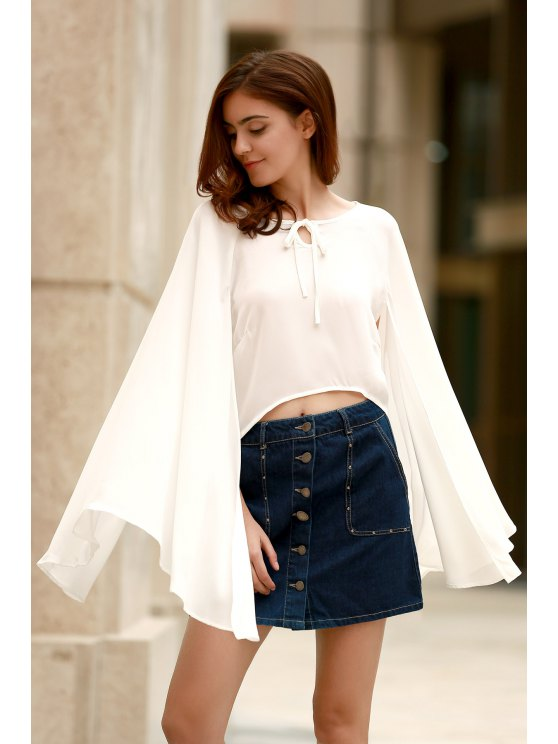outfit Lace-Up Cape Design Chiffon Crop Top - WHITE M