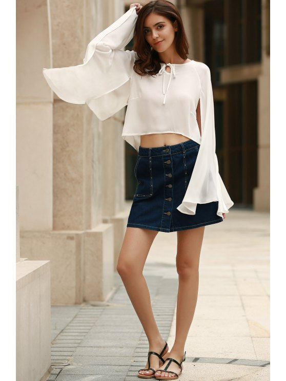 Lace-Up Cape Design Chiffon Crop Top - WHITE XL Mobile