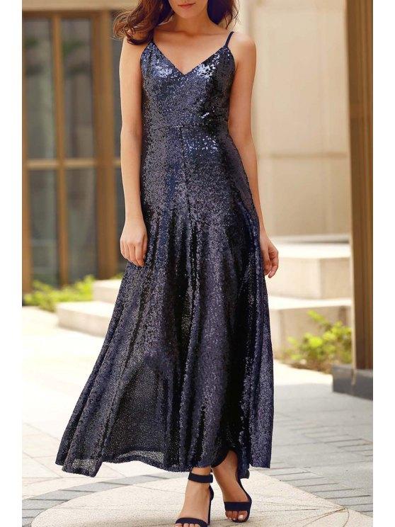 Backless Paillettes Spaghetti Strap Maxi Dress - Bleu Cadette XS