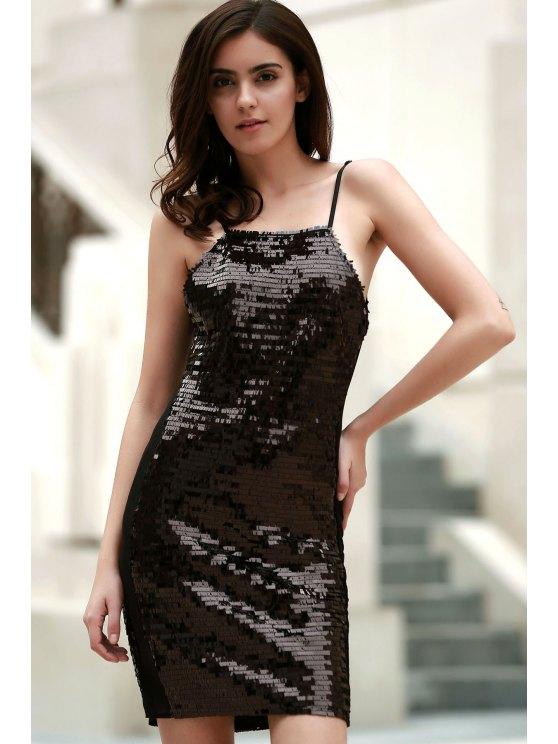 Black Sequins Spaghetti Straps Bodycon Dress - BLACK L Mobile