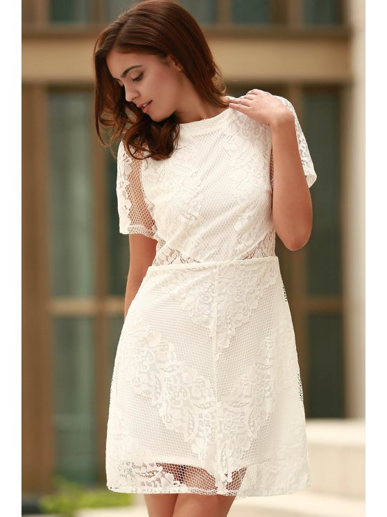 Openwork Lace Hook White Dress - WHITE S Mobile