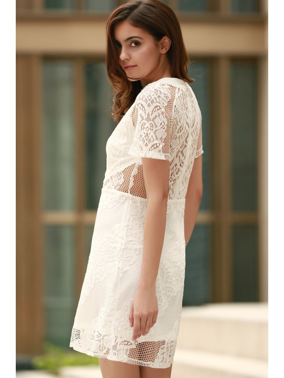Openwork Lace Hook White Dress - WHITE L Mobile