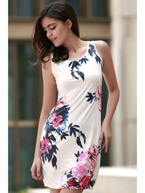Floral Round Collar Sleeveless Bodycon Dress - WHITE XL Mobile